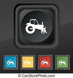 Tractor icon symbol. Set of five colorful, stylish buttons on black texture for your design. Vector