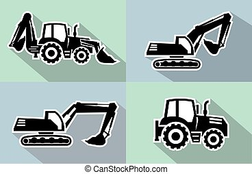 tractor icon - tractor one black icon on grey background