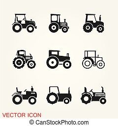 Tractor icon vector, symbol, logo illustration isolated on background