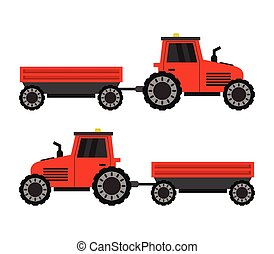 tractor icon with a cart illustrated in vector on white background