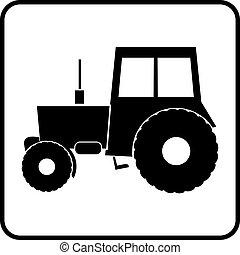 tractor, icono, silueta