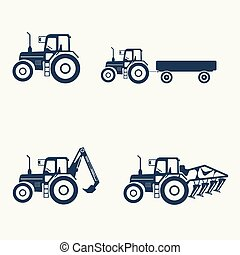 Tractor icons set with higher lift, tiller.