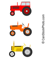 Tractor - Retro cartoon tractor set