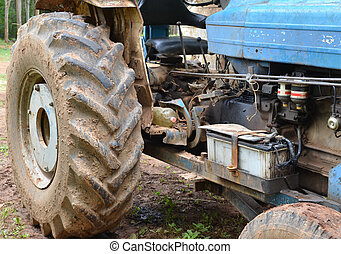 Tractor in a field, agricultural scene