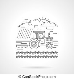 Tractor in a field flat line vector icon