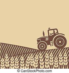 tractor, in, akker