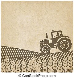 tractor in field old background