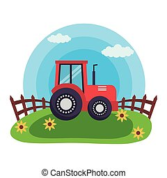 tractor in the grass farm