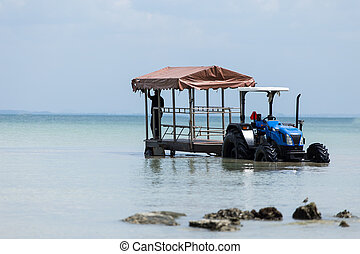 Tractor in the sea