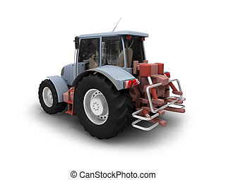 Tractor isolated heavy machine back view 01