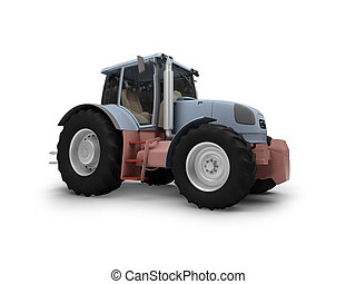 Tractor isolated heavy machine front view
