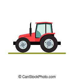 Tractor isolated on white background. Flat illustration