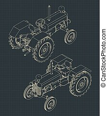 Stylized vector illustrations of a Tractor in isometric drawings