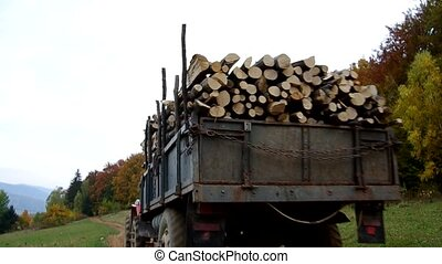 Tractor loaded with firewood is on a dirt road.