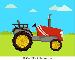 Tractor Machine on Farm Field Vector Illustration - Tractor...