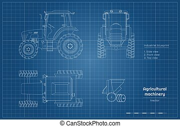 tractor., machinery., industria, cianotipo, agricultura, ...