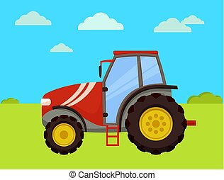 Tractor Machinery of Farm Vector Illustration - Tractor...