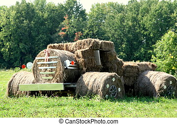 Tractor made of straw bales of hay