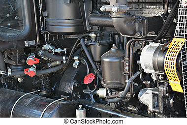 diesel motor of an agricultural tractor close up
