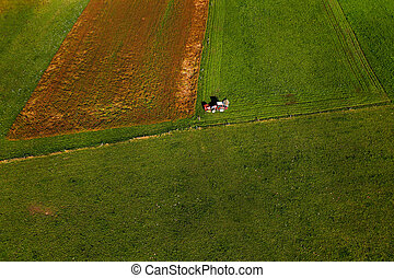 Tractor mowing pasture on big field of neatly cultivated...