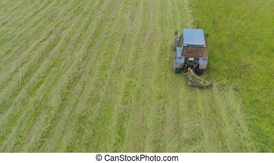 Tractor mows the grass - Tractor mowing grass with a disc...