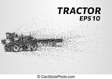 Tractor of the particles. The tractor breaks down into small circles and dots. Vector illustration