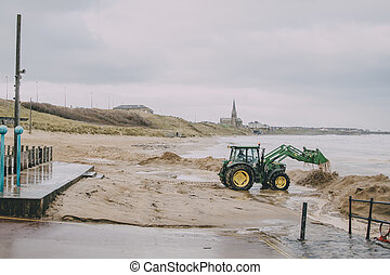 Tractor On A Winter Beach
