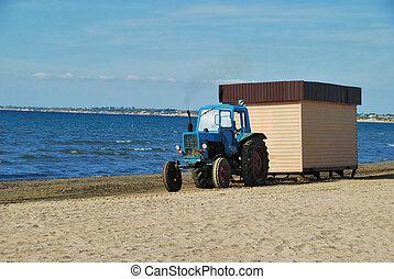 Tractor on coast of Black sea