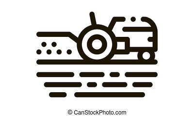 Tractor On Field Icon Animation. black Tractor On Field animated icon on white background