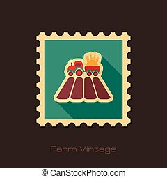 Tractor on field retro flat stamp with long shadow
