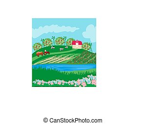 Tractor on field rural landscape