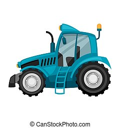 Tractor on white background. Abstract illustration of agricultural machinery