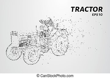 Tractor particles. The tractor consists of small circles and dots. Vector illustration