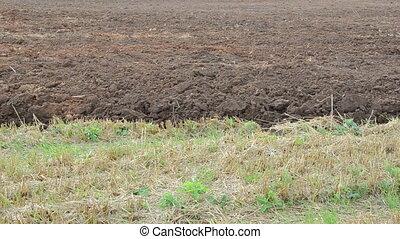 tractor plough close soil - close of tractor machine plough...