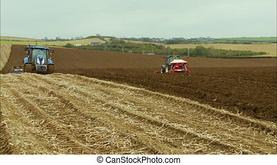 Tractor Ploughing | Sowing | Countryside Farm, UK - ...