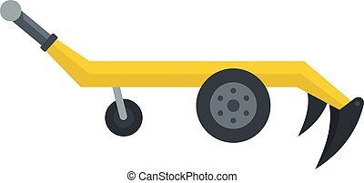 Tractor plow icon, flat style - Tractor plow icon. Flat...
