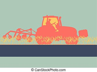 Tractor plowing and cultivating soil field vector