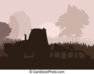 Tractor plowing the field vector background