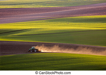 tractor plows the field in the spring