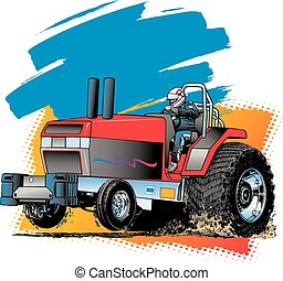 Tractor Pull - Big Red Tractor pulling hard