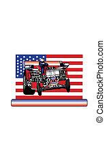 Pulling tractor, horsepower american flag