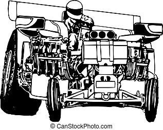 Big horsepower tractor pulling, vector, one color,