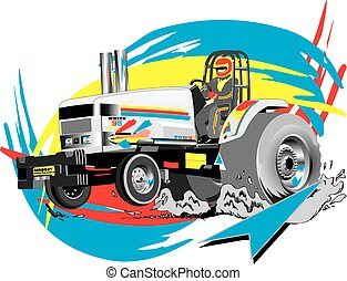 professional tractor for pulling events, vector, eps, grey scale