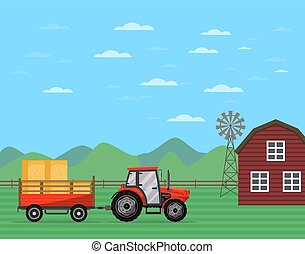 Tractor pulling trailer with hay banner