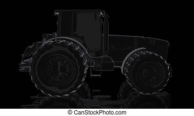 Tractor. Rotating 360 Degree 3d model black shine tractor....