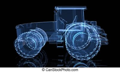 Tractor. Rotating 360 Degree 3d model blue x-ray shine...