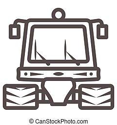 tractor, señal, contorno, plano de fondo, mundo, limpieza, día, arado, graphics., estilo, web., snowblower, línea, nieve, icono, máquina, móvil, concepto, vector, icono, blanco, profesional