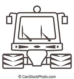 tractor, señal, contorno, plano de fondo, mundo, limpieza, día, arado, graphics., estilo, web., snowblower, línea, nieve, icono, máquina, móvil, concepto, vector, icono, blanco, profesional, delgado