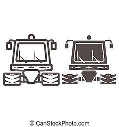 tractor, señal, contorno, plano de fondo, mundo, limpieza, sólido, día, arado, graphics., estilo, web., snowblower, línea, nieve, icono, máquina, móvil, concepto, vector, icono, blanco, profesional