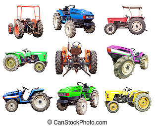 tractor set isolated on white